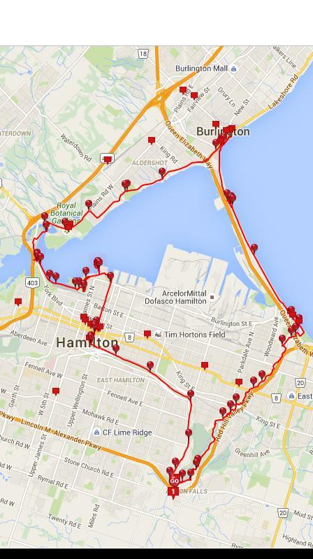 Route Burlington Lakeshore Cycling clubs Share the