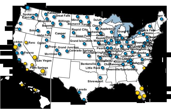 Nationwide footprint Yellow dots leisure destinations Blue dots small cities Large dots - bases Based on current