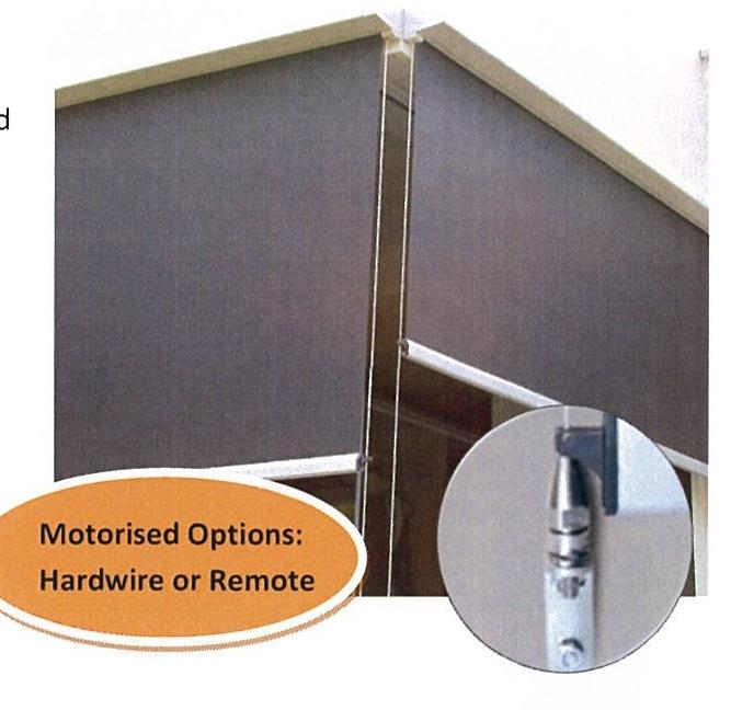 PERFECT SOLUTION FOR ENCLOSING A PATIO, COURTYARD OR BALCONY TO CREATE A ROOM CRANK HANDLE Gear operated NO SIDE Guides* A very robust external awning that is a step up from the traditional Rope &