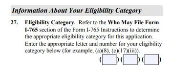 Complete the Form I-765 #27: Eligibility Category Use the code (c) (3) (B) for post completion OPT #28 31b: None of these apply to you if this is