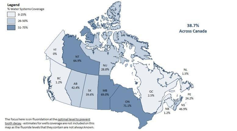 December 30, 2018 Water Fluoridation Across Canada i According to the Government of Canada s 2017 report on Community Water Fluoridation in Canada, Ontario has 71.