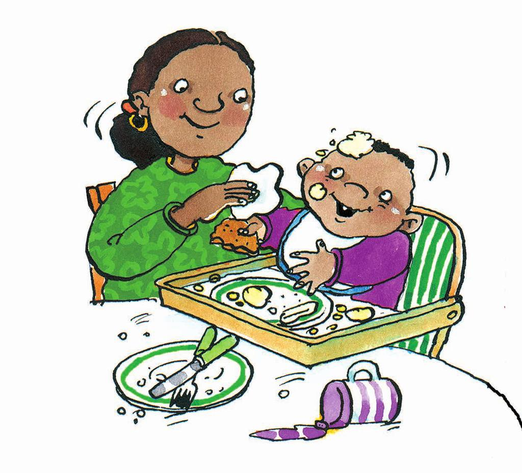 Mealtimes will need to be managed in the same way no matter who is there, so that your child always gets the same messages about what is expected of them.