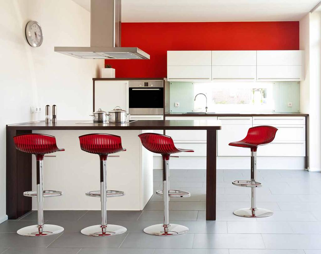 118 Aria Revolving stool with adjustable height with gas piston. Base and column in stainless steel.