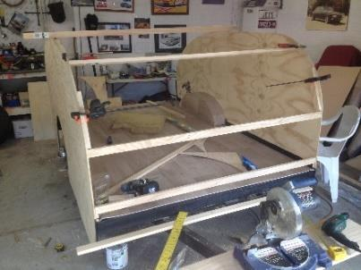 Below: The frame and plywood floor have had several coats of