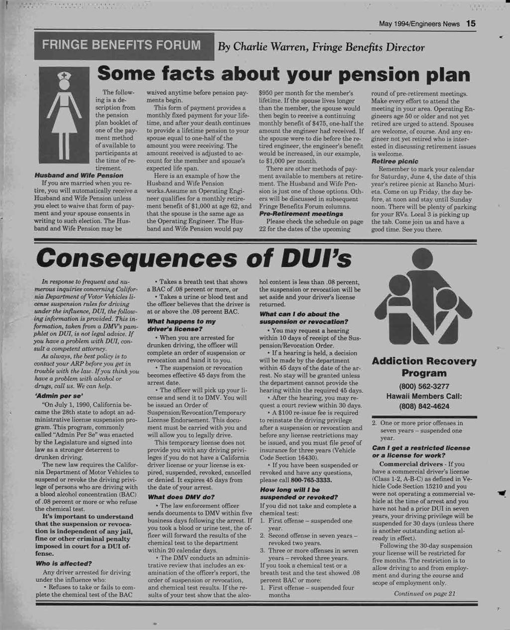 --------- FRINGE BENEFITS FORUM By Charlie Warren, Fringe Benefits Director May 1994/Engineers News 15 H Some facts about your pension plan The follow- waived anytime before pension pay- $950 per