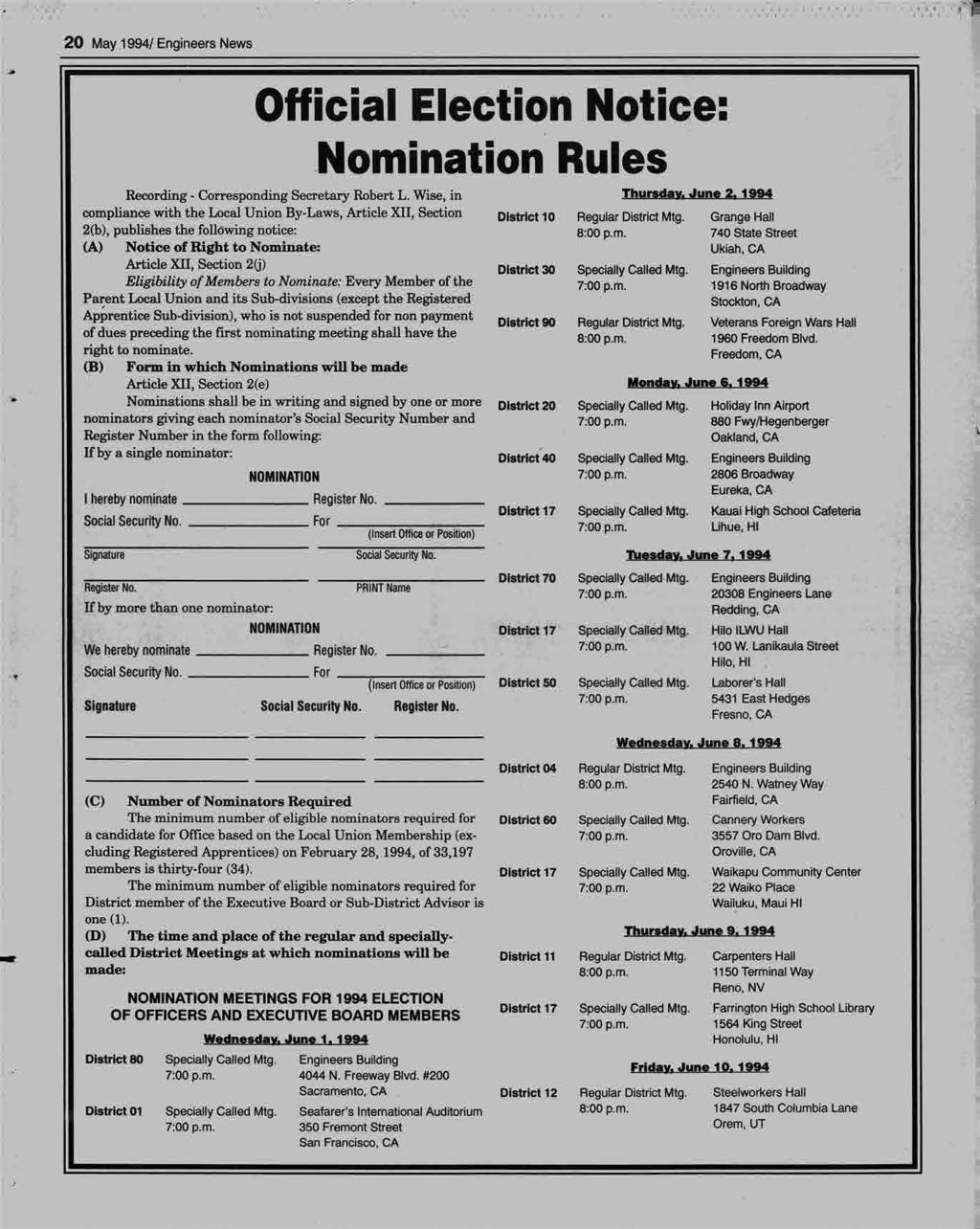'll< p--2,... 48*, 20 May 1994/ Engineers News -D Official Election Notice Nomination Rules Recording - Corresponding Secretary Robert L. Wise, in Thursday. June 2.