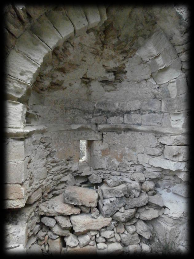 The church is in a very dilapidated state, there s just the main curved wall (the