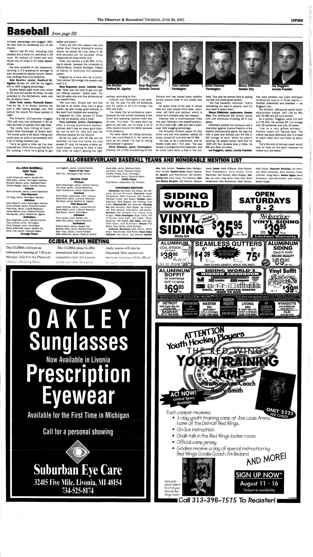 Canton Dbsmrc Your Hometown Newspaper Serving For 26 Years Pdf Diagram Whirlpool Cabrio Washer Parts Uploaded By Nikita On The Observer Eccentric Thursday June 28 2001 Cpd3 Baseball