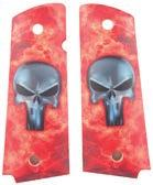 1911 AUTO GRIPS & SCREWS For A Truly Unique Look Vibrant flames and a silver-gray metallic Punisher skull logo decorate these full-sized grips and give your 1911 Auto pistol a distinctive,