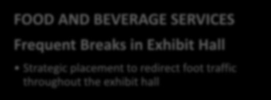 Exhibit Hall Hours Greater opportunities for attendee face-time FOOD AND BEVERAGE