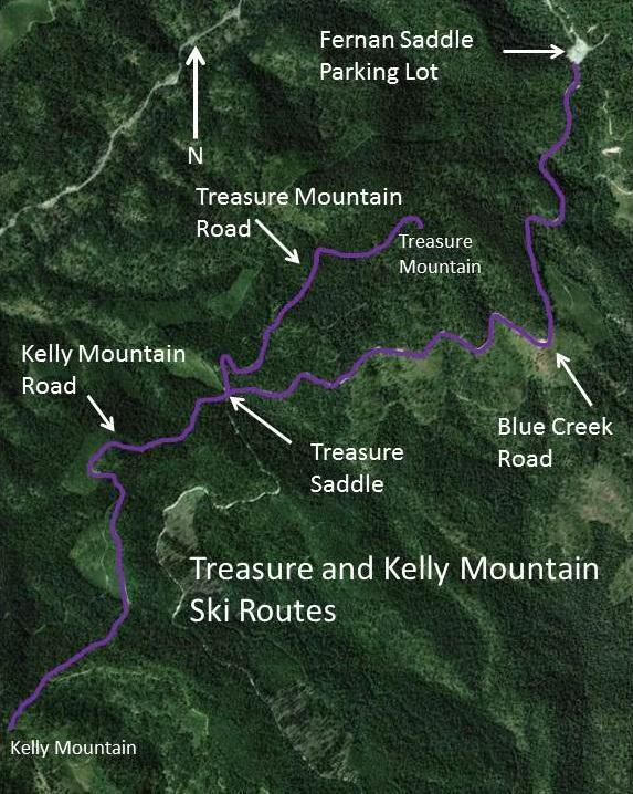 Four roads come together on Treasure Saddle with the Blue Creek Road being the sharp left. The Treasure Mountain Road is the one to the furthest right going uphill to the north.