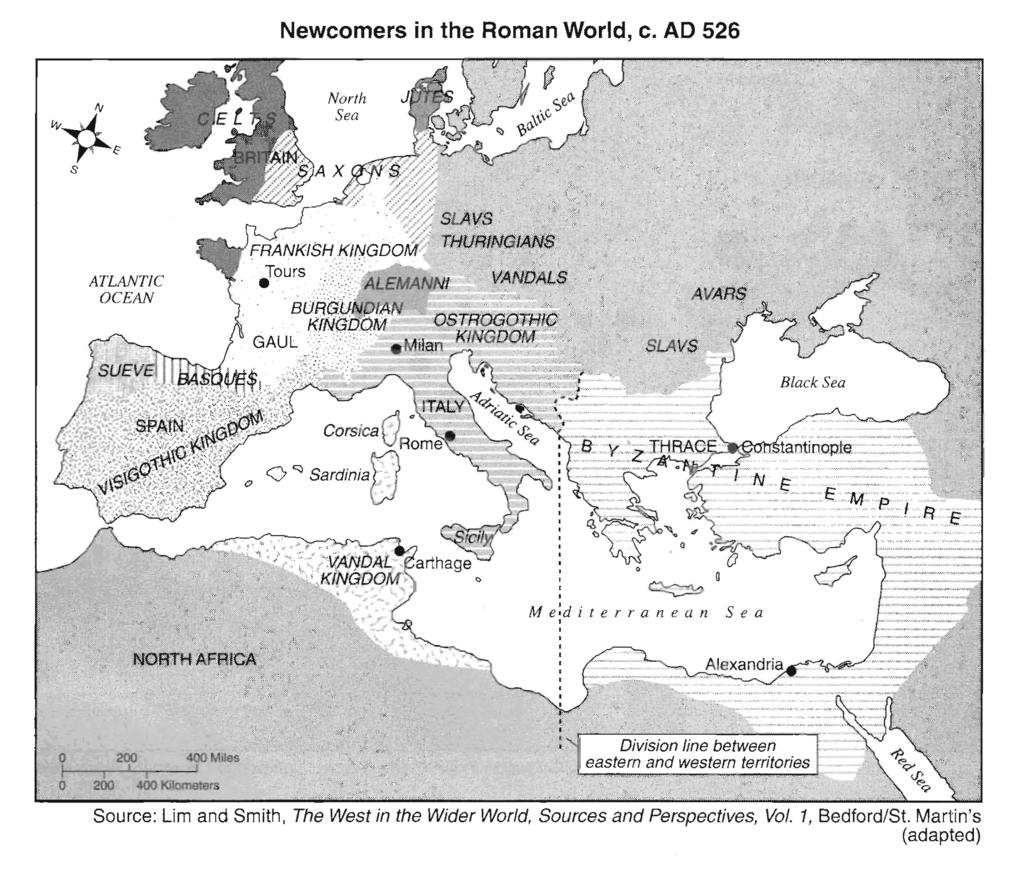 8. Base your answer to the following question on the map below and on your knowledge of social Which conclusion about the Roman world around AD 526 can be drawn from the information on this map?