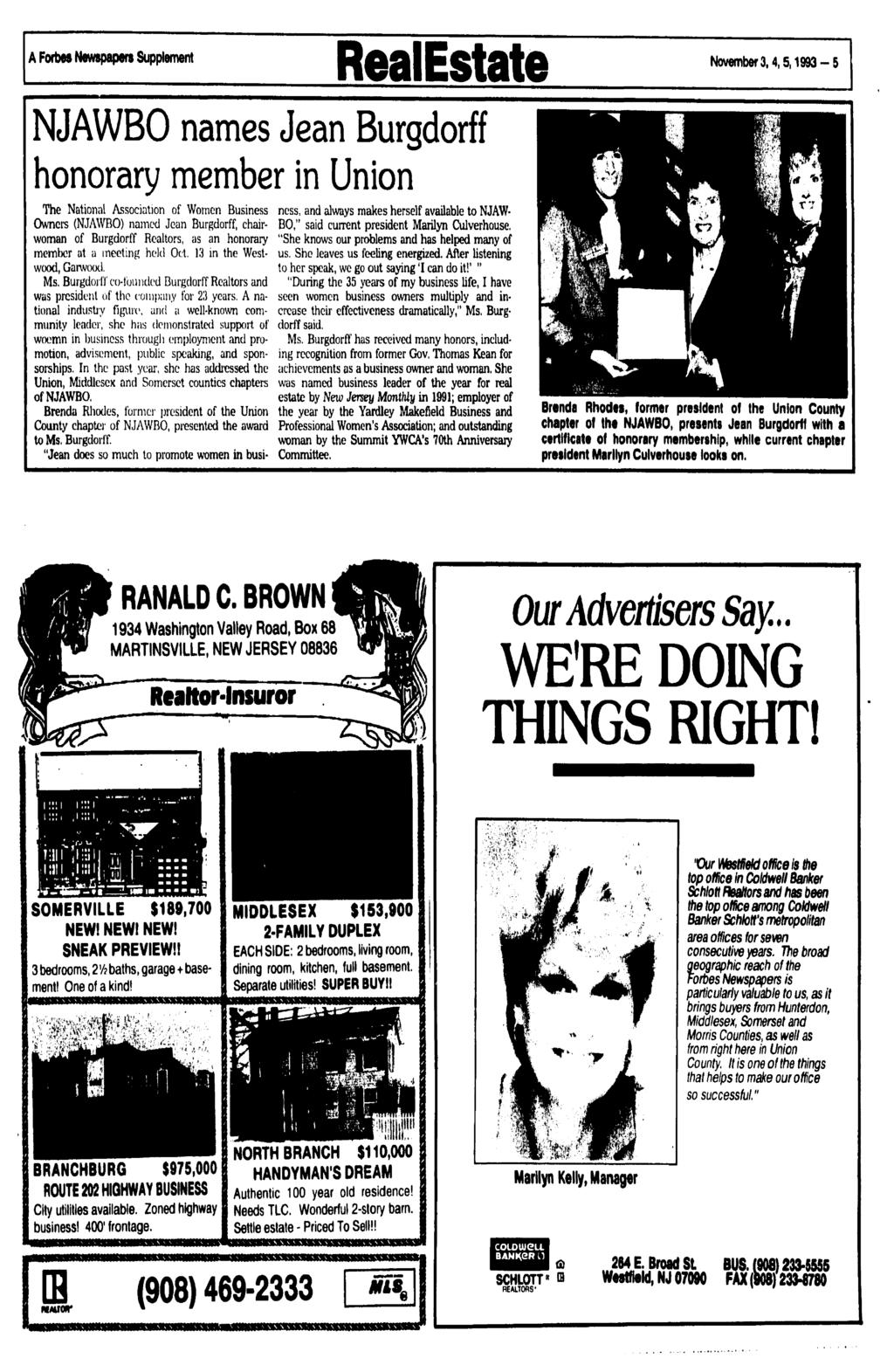 A Forbes Newspapers Supplement RealEstate November3,4,5,1993-5 NJAWBO names Jean Burgdorff honorary member in Union The National Association of Women Business Owners (NJAWBO) named Jean Burgdorff,