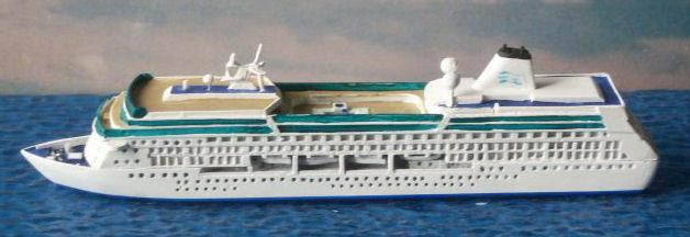 It can be confirmed that Disney Magic is 1/1250 and pictured below is the model removed from its display base, waterlined, detailed and painted by Florian at Mare Nostrum for noted American collector