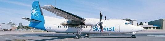 Figure 5: Skywest Airlines Australia Fokker F50 Twin-Turboprop with Pratt and Whitney PW125B turboprop engines and Dowty Rotol Six-blade propellers [37]. 2.