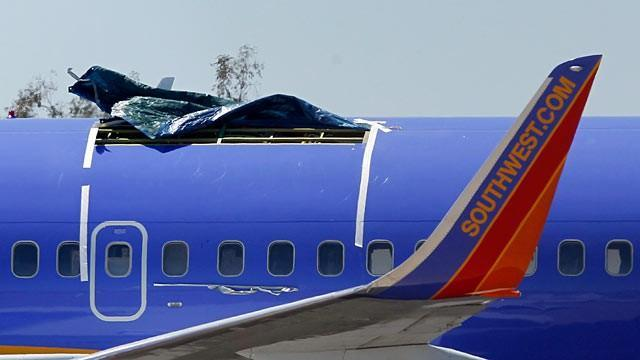 Figure 49: Southwest Airlines B737-300s Hull Failure Incidents - ruptures near the leading edge of the vertical stabiliser - 2009, (left) and slightly aft of the wing (right) 2011 [134] [135].
