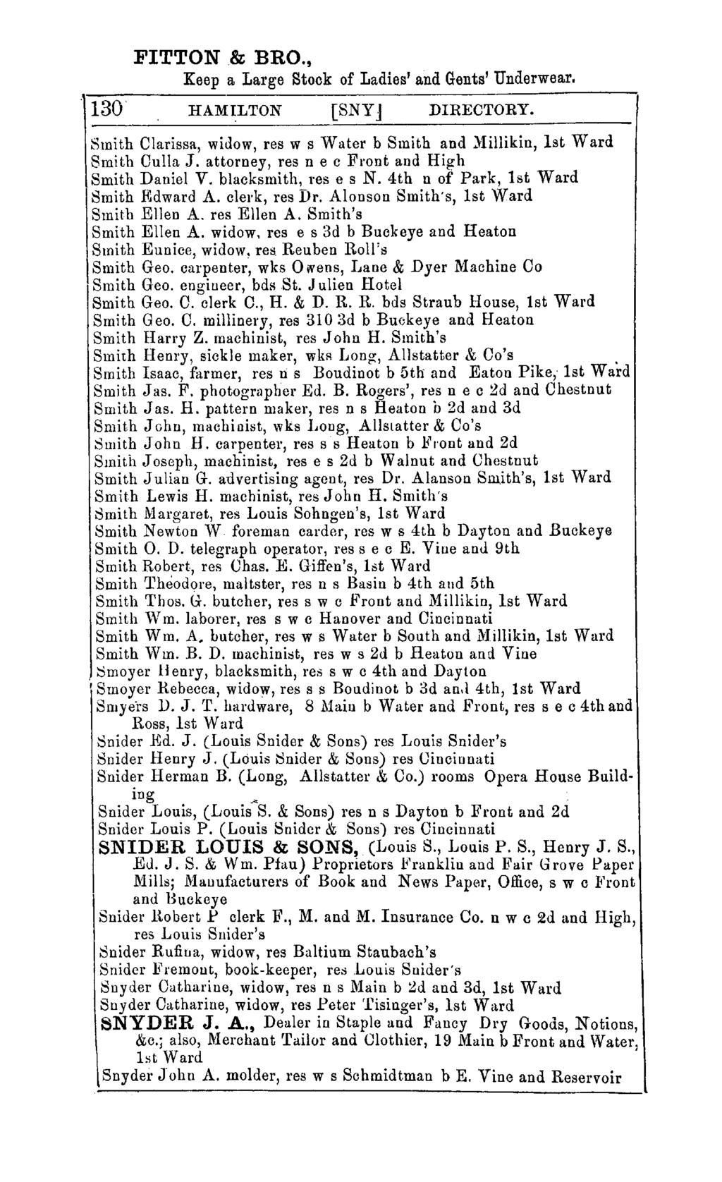 FITTON & BRO., Keep a Large Stock of Ladies' and Gents' Underwear. 130 HAMILTON [SNYJ DIRECTORY. Smith Clarissa, widow, res w s vvater b Smith and )lillikin, 1st Ward Smith Culla J.