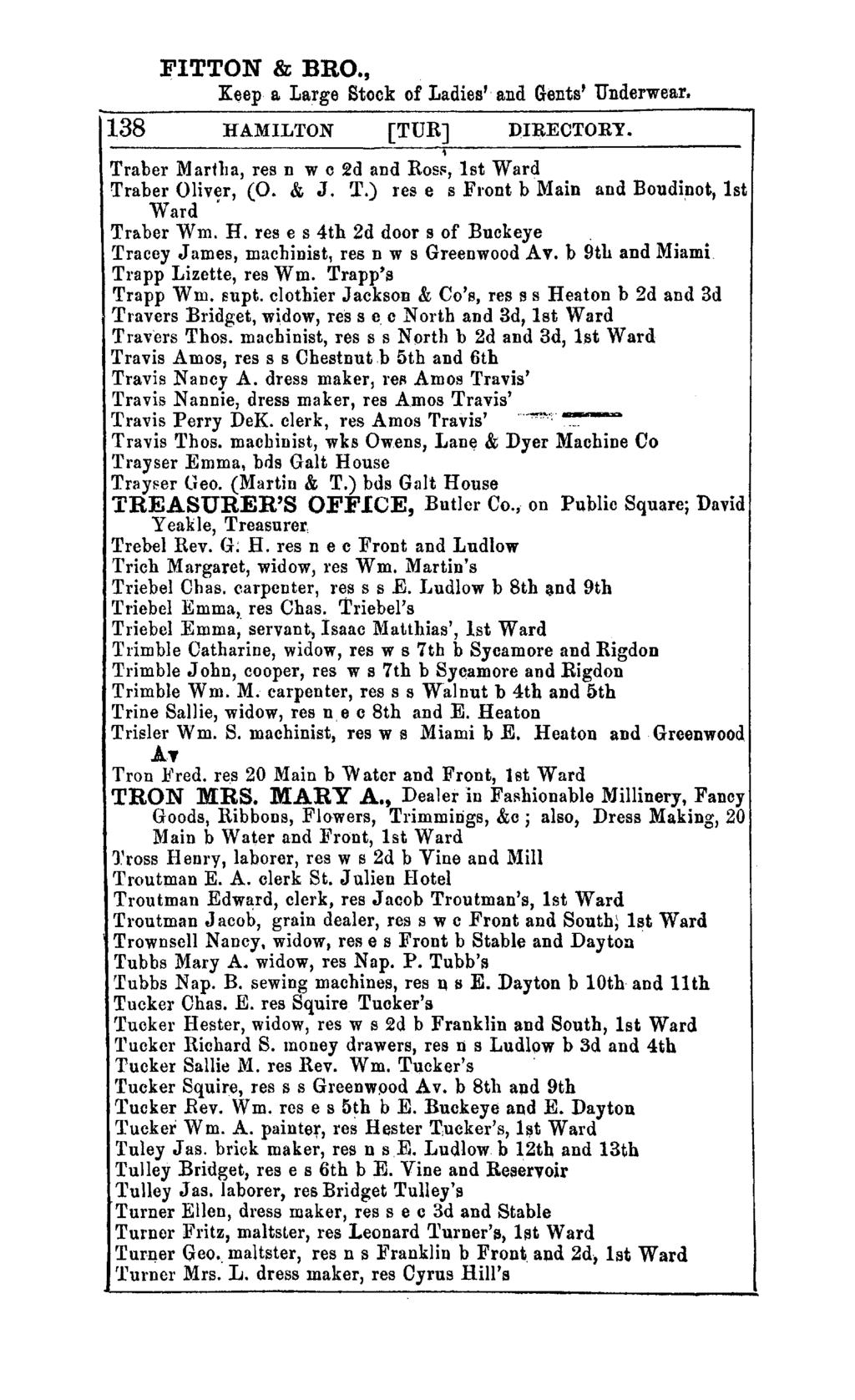 FITTON & BRO., K~ep a Large Stock of Ladies' and Gents' Underwear. 138 HAMILTON [TUR] ])IRECTORY. Traber Martlla, res n w c 2d and ROSF, 1st Ward Traber Oliv~r, (0. & J. T.) res e s Front b Main and Boudinot, 1st Ward Traber Wm.