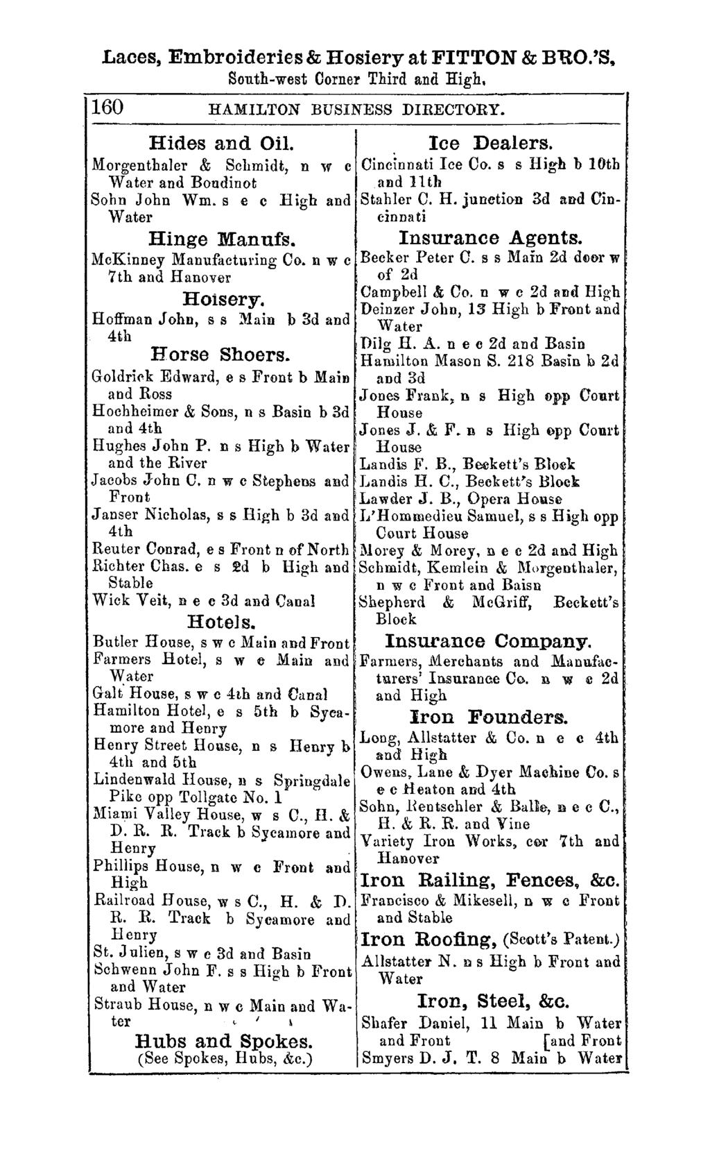 Laces, Embroideries & Hosiery at FITTON & BUO.'S, South-west Oorner Third and High. 160 HAMILTON BUSINESS DIRECTORY. Hides and Oil. Morgenthaler & Schmidt, n w c Water and Boudinot Sohn John Wm.