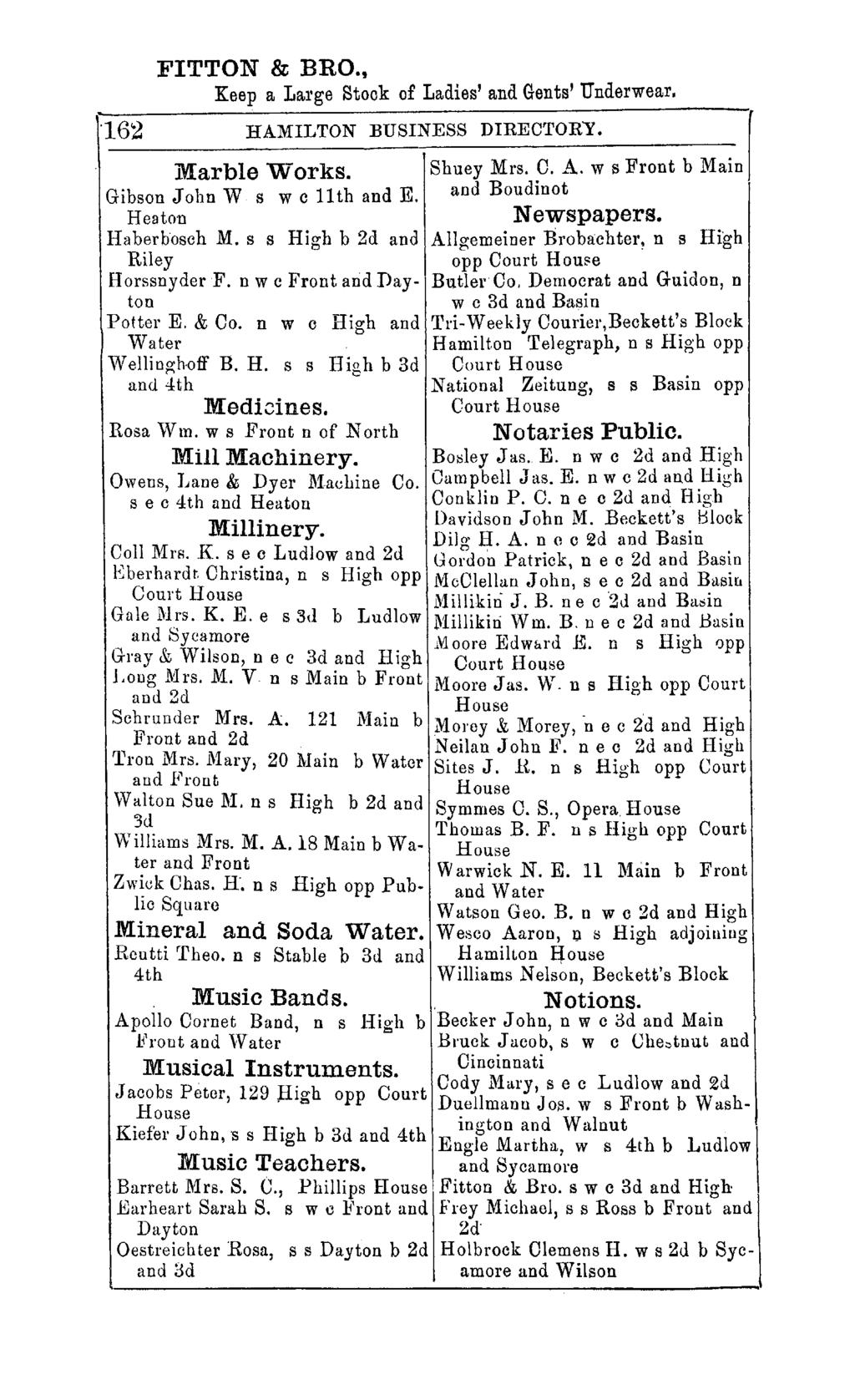 FITTON & BRO.,. '162 Keep a Large Stock of Ladies' and Gents' Underwear. HAMILTON BUSINESS DIRECTORY. r Marble Works. Shuey Mrs. O. A. w s Front b Main Gibson John Wsw c 11 th and E.