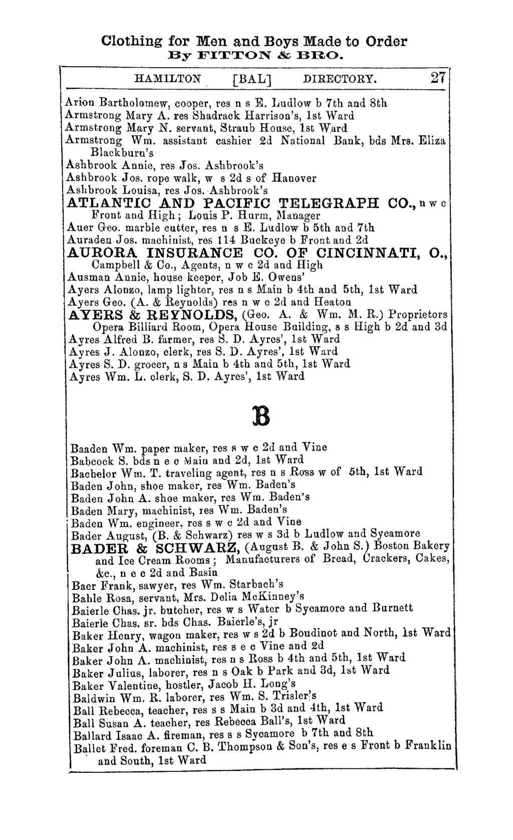 Clothing for Men and Boys Made to Order By FITTON & BRO. HAMILTON [BAL] DIREOTORY. 27 Arion Bartholomew, cooper, res n s E. Ludlow b 7th and 8th Armstrong Mary A.