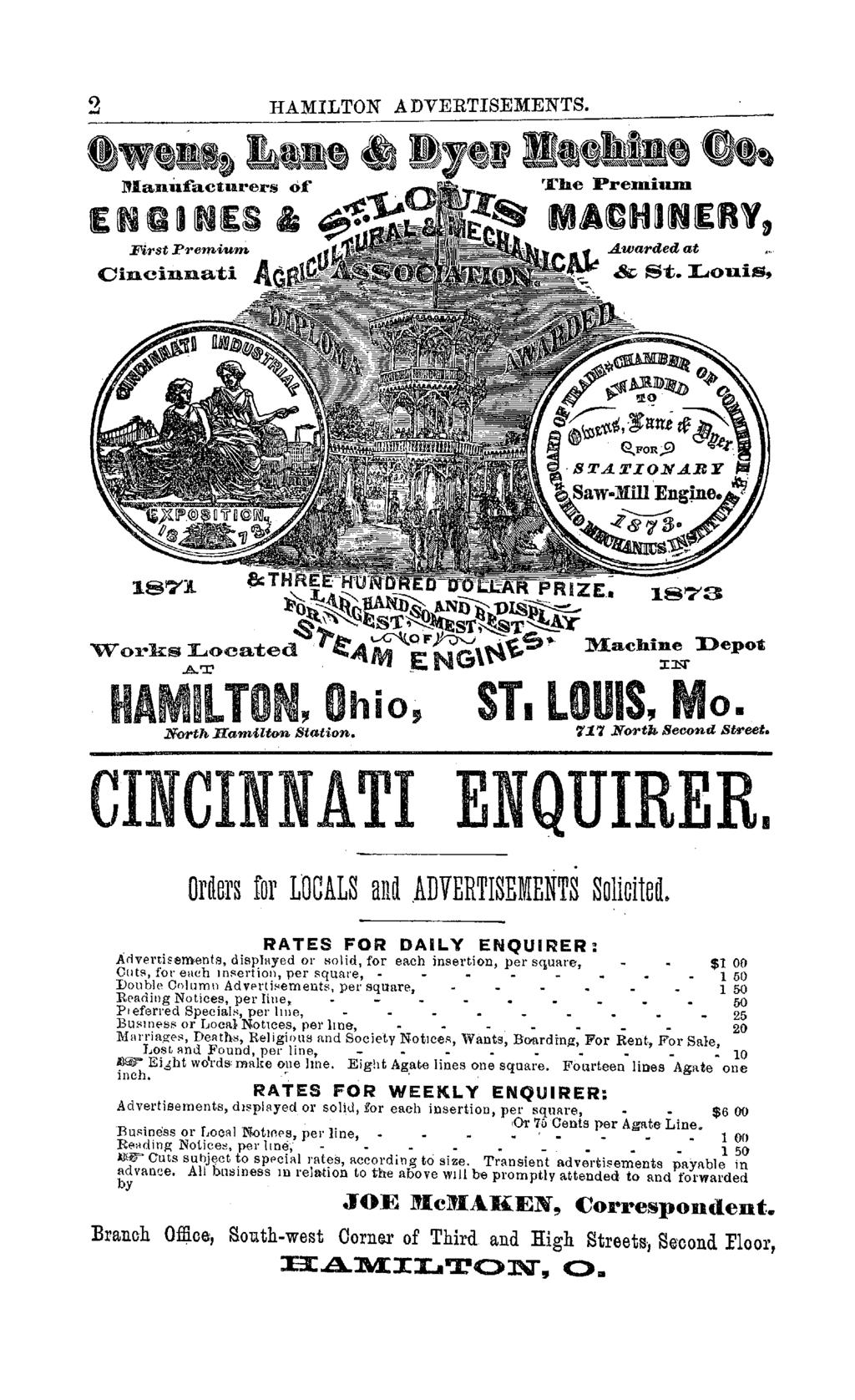 "2 HAMILTON ADVERTISEMENTS. Awarded at Cincinnat.i & S""t. Louis, &:T l''o ~\ ~)-~ ~o. ""W""orks!:;oca-ted. ~ANJ ~ NG\~ 187""'3 Machine Depot IN til ~LTON, Ohio, ST. LOUIS, o. North Hamilton Station. '1:1."