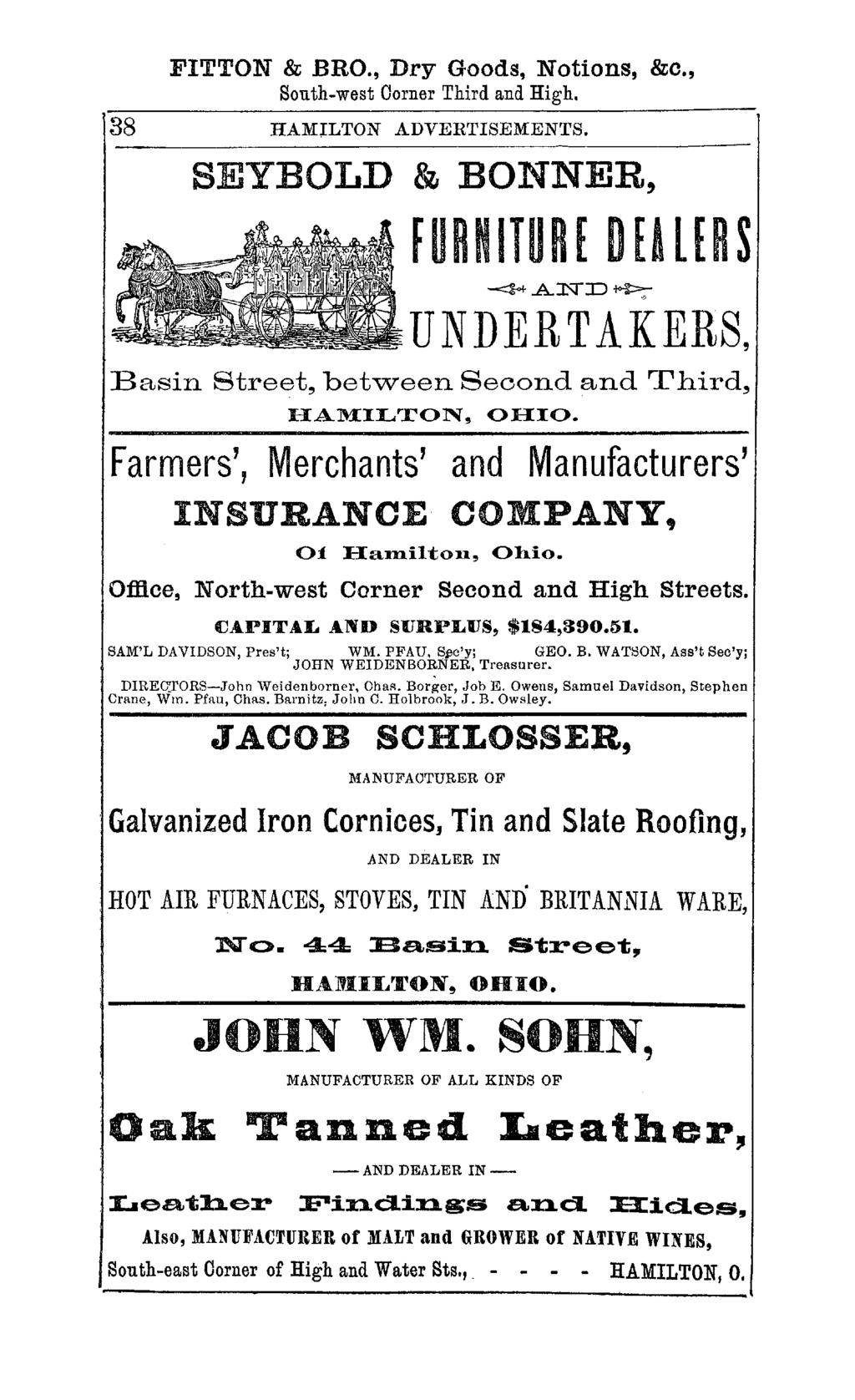 FITTON & BRO., Dry Goods, Notions, &c., South-west Corner Third and High. 38 HAMlLTON ADVERTISEMENTS.
