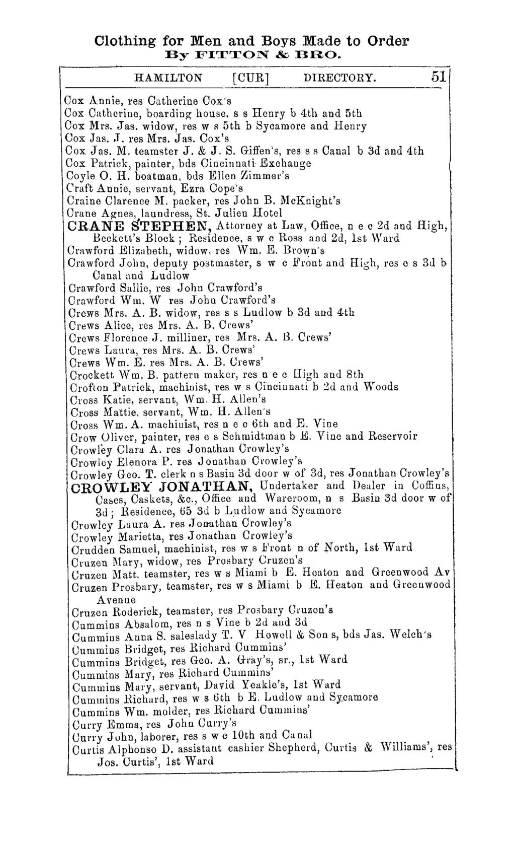 Clothing for Men and Boys Made to Order By FITTON & BRO. HAMILTON [CUR] DIRECTORY. Cox Annie, res Catherine Oox's Oox Oatherine, boarding house, s s Henry b 4th and 5th Cox Mrs. J as.