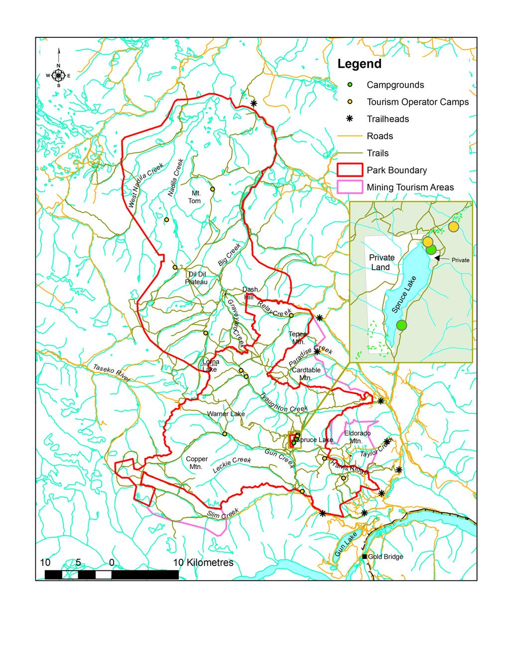 Figure 5: Park Access and Facilities Map (Note: Trail locations for South Chilcotin Mountains Park