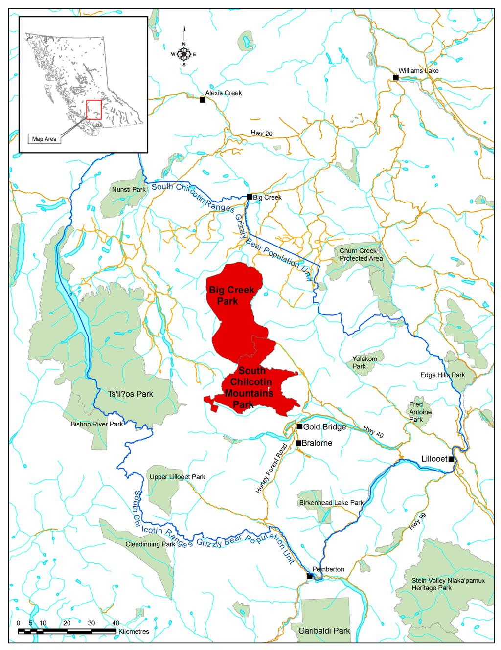 Figure 1: Context Map for South Chilcotin Mountains Park and Big Creek