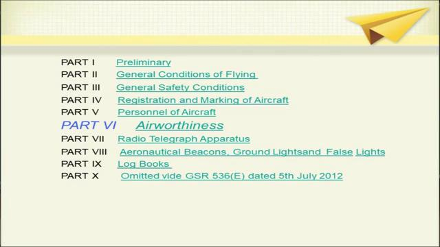 (Refer Slide Time: 04:13) Now, the aircraft rules 1937 they are divided into various parts. (Refer Slide Time: 04:16).
