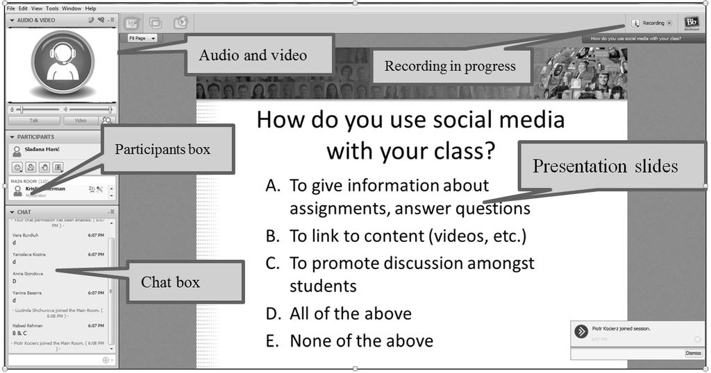 Picture 2. OUP Webinar - screenshot using PC showing video of the presenter, slides, participants' box, chat box.