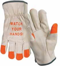 Hand Protection Category Grain Cow Leather Drivers Gloves Constructed from select grade cow leather. Features shirred elastic back, rolled fabric hem and keystone thumb. Unlined.