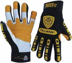 Hand Protection Category 1494 TrueFit Goatskin Ultra TPR Gloves Abrasion-resistant top-grain goatskin palm with thermoplastic rubber (TPR) pads on knuckle, full finger, thumb, and back of hand for