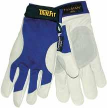 All finger tips are covered in leather for heavy wear protection. Blue/pearl gray. 72 Pr/Cs.