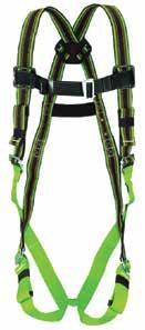 mating-buckle chest and leg straps, sub-pelvic straps, belt loops, friction shoulder straps and back strap to prevent user from falling out of the harness.