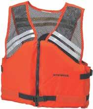 Features CROSSTECH flotation foam and 3M Scotchlite Reflective Material, SOLAS-grade 6755 on panels. Minimum 15 1/2 lb. buoyancy. USCG Approved, Type lll. International orange.