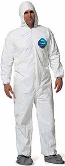 Protective Category Clothing DuPont Tyvek Coveralls Provides an effective barrier for dry, small particles, even after abrasion, with an ideal balance of protection, durability and comfort.