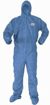 Category Protective Clothing SubSection KleenGuard* A40 Breathable Back Coveralls with Thumb Hole Front and sleeves are a microporous film laminate designed for protection against hazardous particles