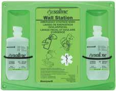 Sealed, sterile bottles contain Eyesaline a buffered, saline solution superior to tap water for emergency eye care. Blow-fill-seal bottles are tamper-resistant, yet easily removed in an emergency.