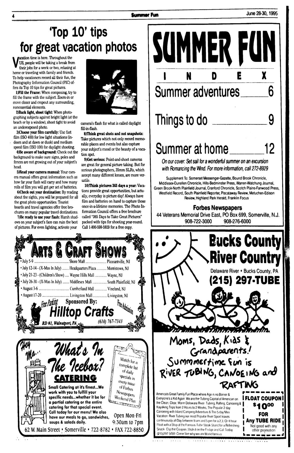 Suntmtr Fun June 28-30,1995 'Top 10' tips for great vacation photos Vacation time is here.