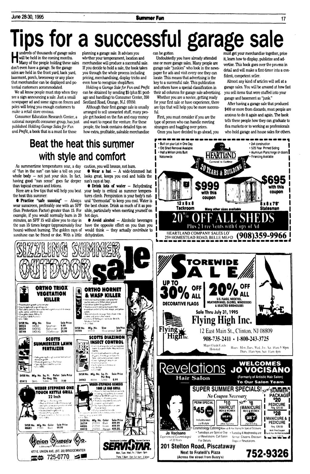 June 28-30,1995 Summer Fun 17 Tips for a successful garage sale of thousands of garage sales H lundreds of thousands of garage sales planning a garage sale.