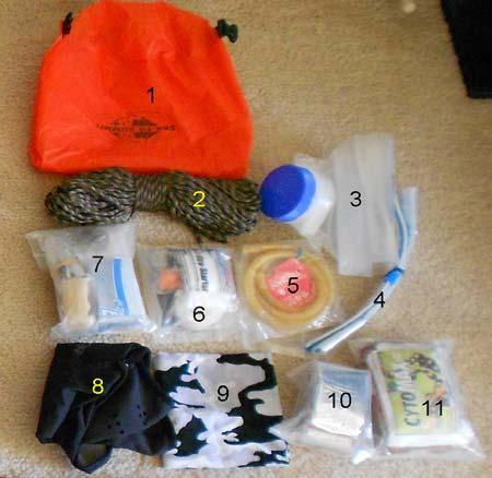 Survival Kit B - location in pack not important Fire Starter Kit Contents 1 Waterproof pouch for kit Lighter Storm proof matches in container 2 Parachute cord Magnifier Magnesium fire starting tool 3