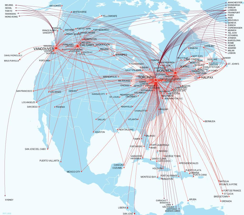 GROWTH DIRECTED AT INTERNATIONAL MARKETS AND AT LOWER UNIT COSTS Air Canada/Air Canada Jazz and Air Canada rouge routes spring-summer 2014 182 Direct Destinations: 60