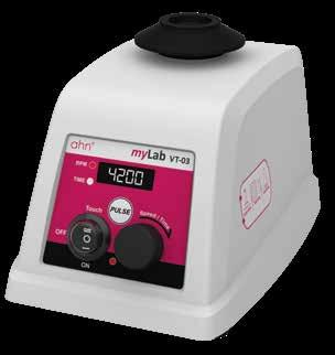 Digital Vortex Mixer 4200 rpm VT-03 34 Usage - comfortable everyday mixing operations Maximum Speed - adjustable up to 4200 rpm Digital display - adjustable speed setting with an interval of 10 rpm