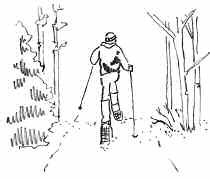 The height of a person snowshoeing is the same as a pedestrian, but a somewhat wider trail is required for the movement of the snowshoes and the use of poles.