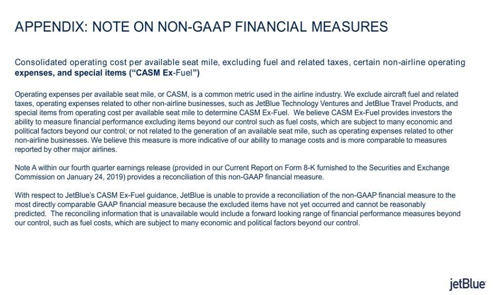 APPENDIX: NOTE ON NON-GAAP FINANCIAL MEASURES Consolidated operating cost per available seat mile, excluding fuel and related taxes, certain non-airline operating expenses, and special items ( CASM