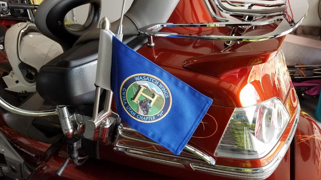 "Flag Etiquette - Display on Motorcycles - When the US flag is flown alone, it needs be at the center on the back of the motorcycle, or to its ""marching right."