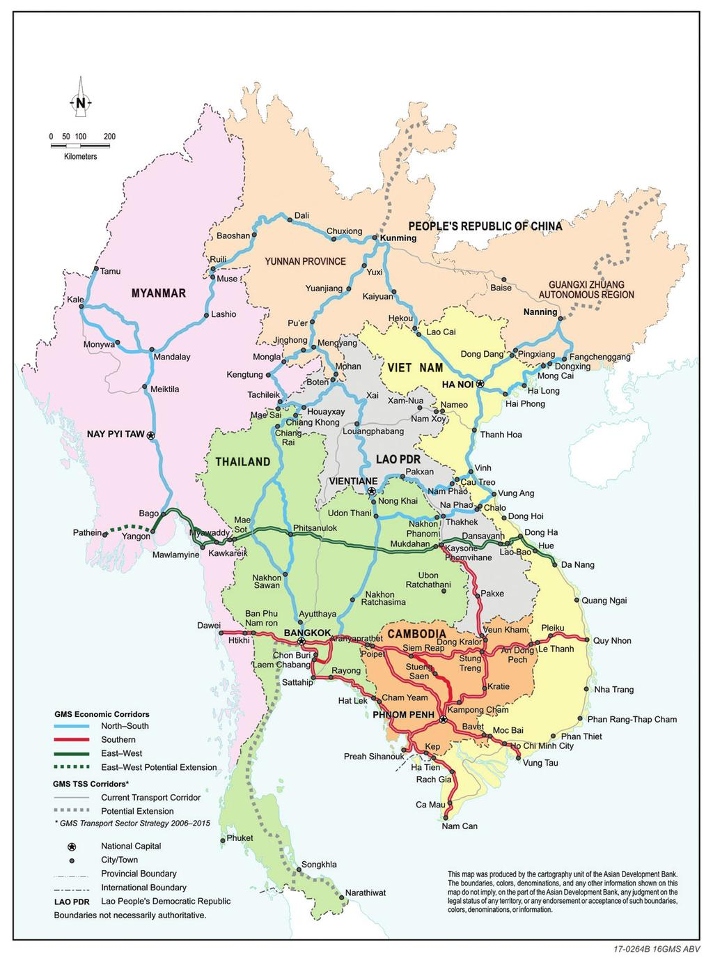2 Assessment of Greater Mekong Subregion Economic Corridors: People s Republic of China Figure 1: New Configuration of the Greater Mekong Subregion Economic Corridors GMS = Greater Mekong Subregion,